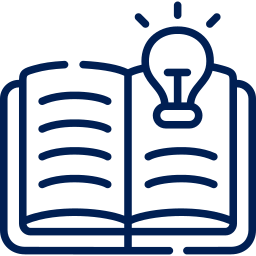 A blue open book with a lightbulb