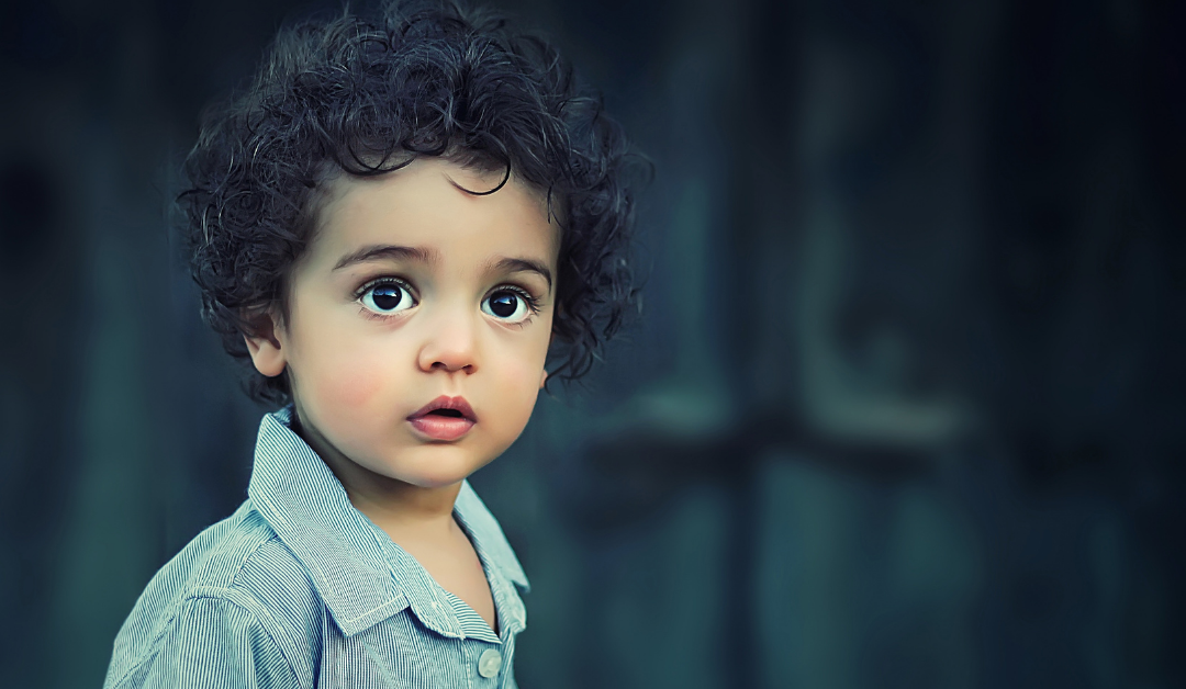 A little boy looking wide-eyed into camera